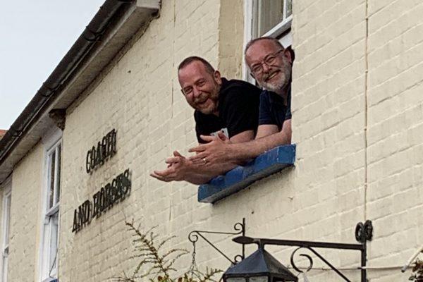 Pub guys at window